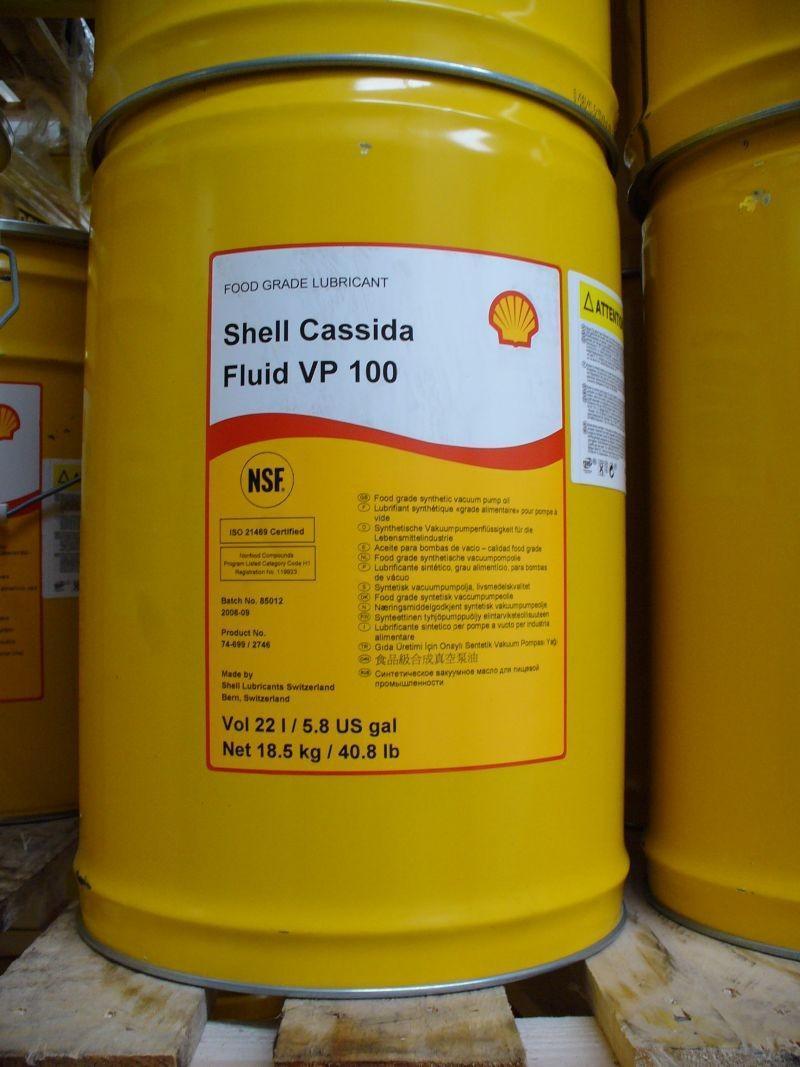 Shell Cassida Fluid VP 100 — это синтетическое масло для вакуумных насосов, применяемых в пищевой промышленности.
